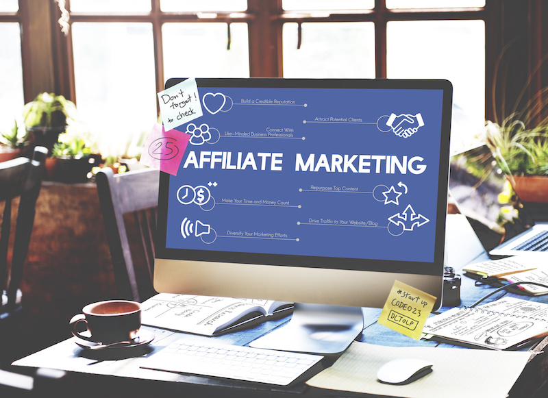 Affiliate Marketing on blue background of laptop screen